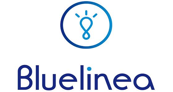 Logo de Bluelinea téléassistance en toutes lettre avec une ampoule au dessus