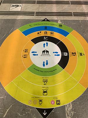 Photographie de la boussole de métro installée au sol des lignes de LYON dans le cadre du projet Ligne Bleue à destination des personnes atteintes de troubles autistiques