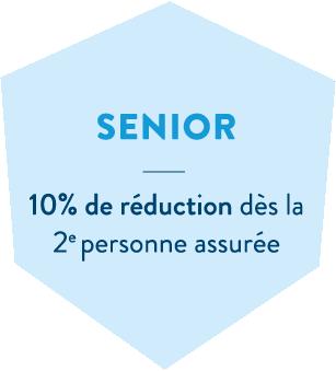 Hexagone bleu en header de l'offre santé mutuelle sénior de la MBTP