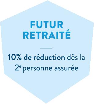 Hexagone bleu en header de l'offre santé futur retraités de la MBTP