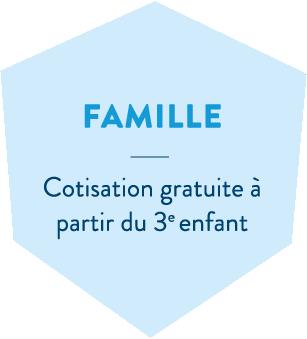 Hexagone bleu en header de l'offre santé famille de la MBTP