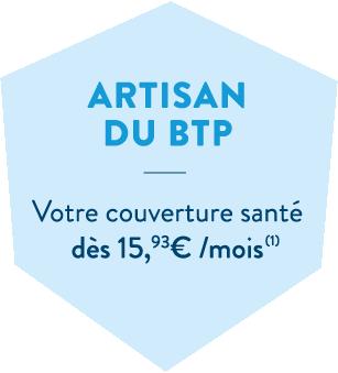Hexagone bleu en header de l'offre artisan du BTP de la MBTP