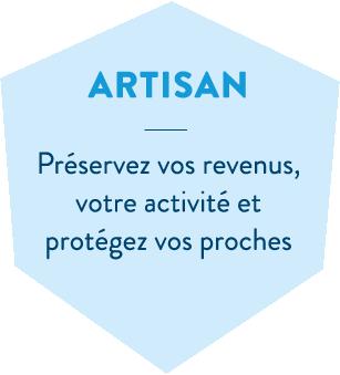 Hexagone bleu en header de l'offre Santé artisan de la MBTP