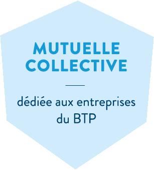 Hexagone bleu en header de l'offre santé mutuelle collective de la MBTP