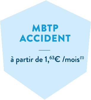 Hexagone bleu en header de l'offre en cas d'accident de la MBTP