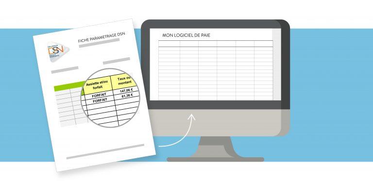 Illustration d'un plan de travail avec un logiciel de paie.